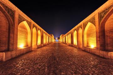 Khaju Bridge at Night in Isfahan, Iran, taken in January 2019 taken in hdr