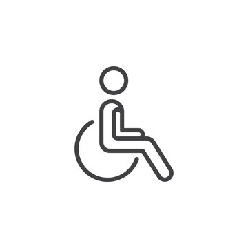 Wheelchair Handicap line icon. linear style sign for mobile concept and web design. Disability outline vector icon. Symbol, logo illustration. Pixel perfect vector graphics