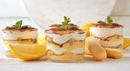 Lemon tiramisu dessert