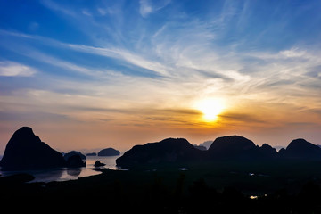 Beautiful seascape view of Phang-nga, unseen place called Samet Nangshe in Phang-nga province with sunrise for holiday vacation background concept, point unseen in Thailand travel location.