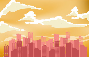 Silhouette of the city. Cityscape background. Urban landscape. For banner or template. Modern city with layers. Flat style vector illustration
