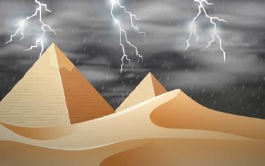 Storm at the desert scene