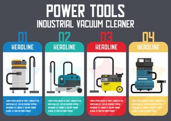 Industrial Vacuum Cleaners Flat Vector Web Banner