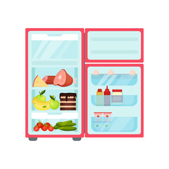 Open fridge with products. Fresh fruits and vegetables, sweets, eggs and sauces. Kitchen refrigerator. Flat vector