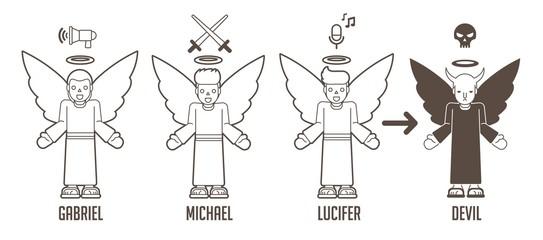 Angels of God cartoon graphic vector