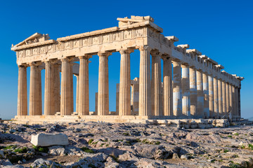 Wall Murals Place of worship Parthenon temple at morning time with blue sky in the background, Acropolis, Athens, Greece.