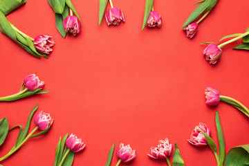 Floral frame with pink peony tulips on coral background. Top view with copy space. Flower composition, greeting or invitation card design template. Mother's day, Women's day concept