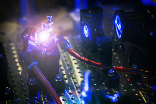 laser beam passes through the laser system of the laboratory