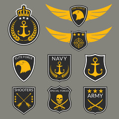 Army and Military badge and logo set. Air Force emblem with Wings and Eagle head. Navy labels with anchor. Military patches with skull. Vector illustration.