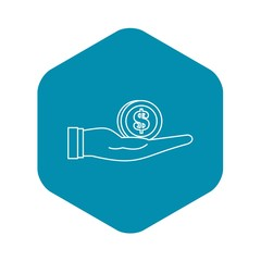 Dollar in hand icon. Outline illustration of dollar in hand vector icon for web design
