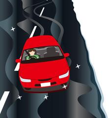 ブラックアイスバーン状態の道路の運転