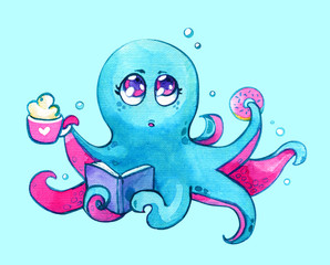 Octopus Kawaii coffee donut book children cute watercolor isolated