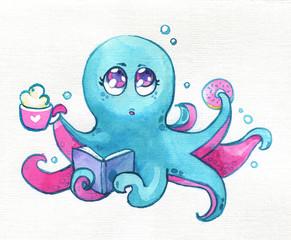 Octopus Kawaii coffee donut book children cute watercolor paper