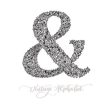 Vector monoline sign - ampersand. Vintage logo monogram Concept Icon. Black ink hand drawn illustration isolated on white background