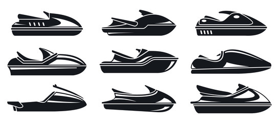 Water jet ski icons set. Simple set of water jet ski vector icons for web design on white background