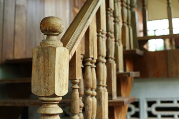 wooden balustrade and banister carve design of staircase