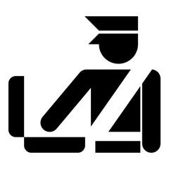 Border control concept Customs officer check baggage Detailed luggage control Baggage control sign icon black color vector illustration flat style image