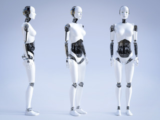 3D rendering of female robot standing, three different angles.