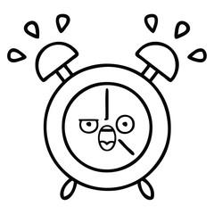 line drawing cartoon alarm clock