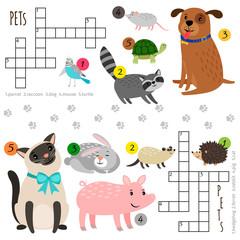 Cartoon character pets vector mini crosswords for children