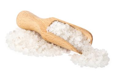 sea salt in wooden scoop