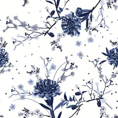 Monotone blue Seamless pattern vector Oriental summer garden flower with blooming botanical and cherry bloosom florals  design for fashion ,fabric,wallpaper, and all prints