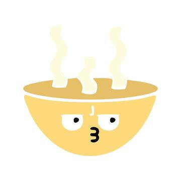 flat color retro cartoon bowl of hot soup