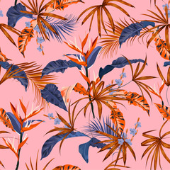 Colorful Seamless pattern exotic forest Summer tropical vector background with hawaiian plants ,leaves and flowers design for fashion, fabric,web,wallpaper, and all prints