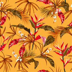 Summer bright Seamless pattern exotic forest tropical night vector with hawaiian plants ,leaves and flowers design for fashion, fabric,web,wallpaper, and all prints