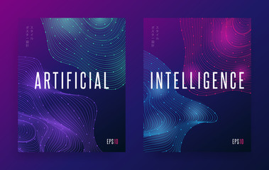 Modern abstract dots lines shape. Gradient wave forms background concept Artificial Intelligence. Small japanese text (translation: «poster design style»). Futuristic flyer EPS 10 vector illustration