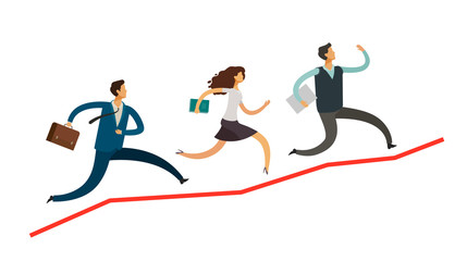 Business people run up the arrow. Career, success concept. Infographics vector illustration