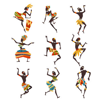 African People Dancing Folk or Ritual Dance Set, Female and Male Aboriginal Dancers in Bright Ornamented Ethnic Clothing Vector Illustration