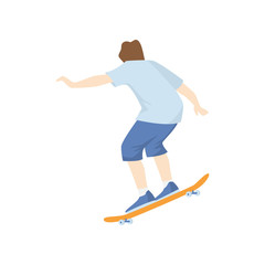 Skateboarder down the hill at high speed isolated on white background