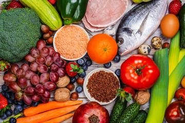 Pegan diet foods on wooden table