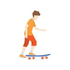 Skateboarder starts moving on skate isolated against white background