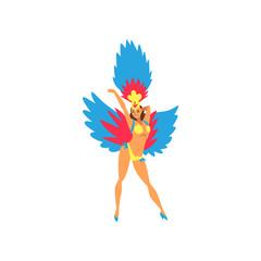 Beautiful Young Woman in Colorful Festival Costume, Brazilian Samba Dancer, Rio de Janeiro Carnival Vector Illustration