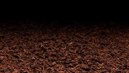 Grated chocolate texture. Ground chocolate background