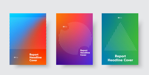 Templates for minimalistic vector cover with a gradient on the background and a circle, a triangle and a rectangle of diagonal lines.