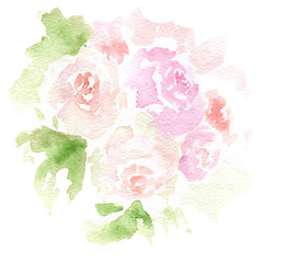 watercolor drawings - flowers for a holiday, sketch, postcard
