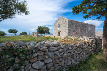 Fotomurales - ruins of the 11th century monastery of St.Peter in Osor town, Losinj island, Croatia.
