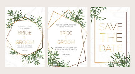 Wedding floral invitation, thank you modern card: ruscus italian wreath on white marble texture with a golden geometric pattern. Elegant rustic template. All elements are isolated and editable