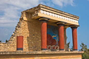 Northern entrance to the Palace of Knossos decorated with bull fresco, located near Heraklion harbor, island of Crete, Greece