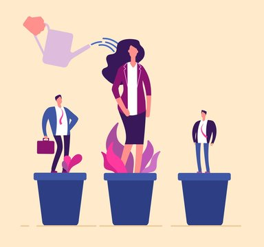Employees growth. Business professional people in flowerpot development training growing management career human resources vector. Illustration of employee career, growing and watering development