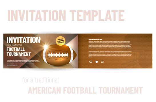 American football tournament invitation template - vector illustration