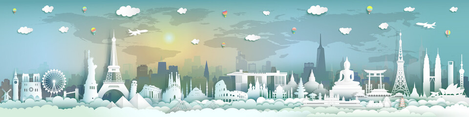 Wall Mural - Tourism landmarks world with city background.