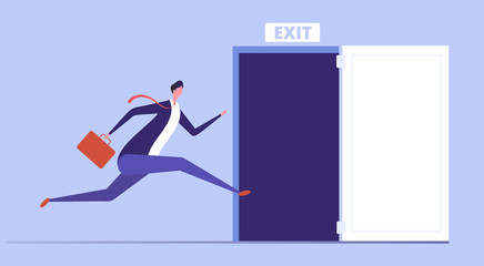 Businessman run to open exit door. Emergency escape and evacuation from office vector business concept. Illustration of businessman run to door exit, escape direction Wall mural