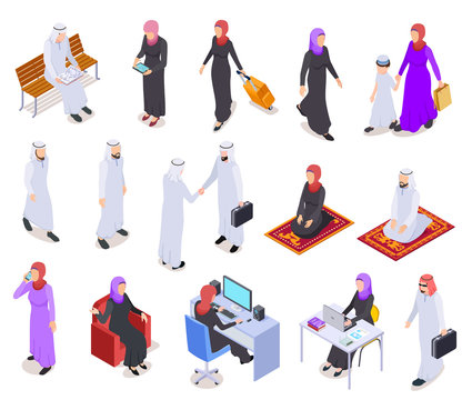 Muslim isometric. Arab 3d people, saudi business woman and man in traditional clothes. Arabian isolated vector characters. Illustration of woman and man, muslim saudi people
