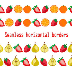 WebFruits and berries.Seamless borders strip of fruits strawberries, pears, orange. Pixel. Vector. Embroidery