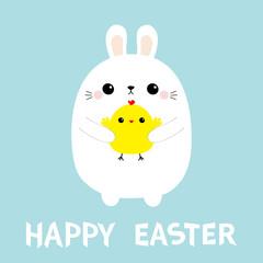Happy Easter bunny holding chicken. Rabbit baby chick bird friends. Farm animal. Cute cartoon kawaii funny character. Blue pastel background. Flat design