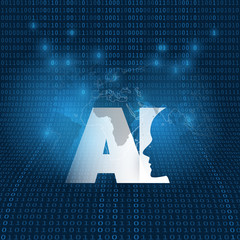 Machine Learning, Artificial Intelligence, Cloud Computing and Networks Design Concept with Digital Binary Data Pattern and AI Label